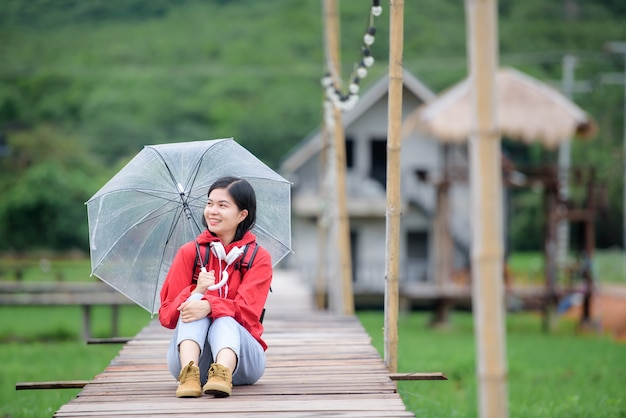 Beautiful young asian tourist wearing red clothes travel in thailand