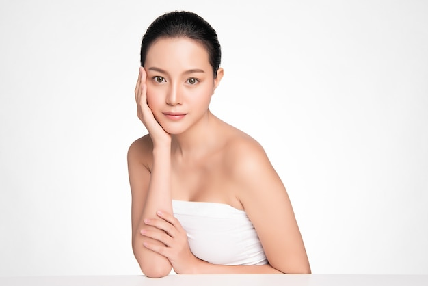 Beautiful young asian woman with clean fresh skin, face care, facial treatment, cosmetology, beauty, asian woman portrait
