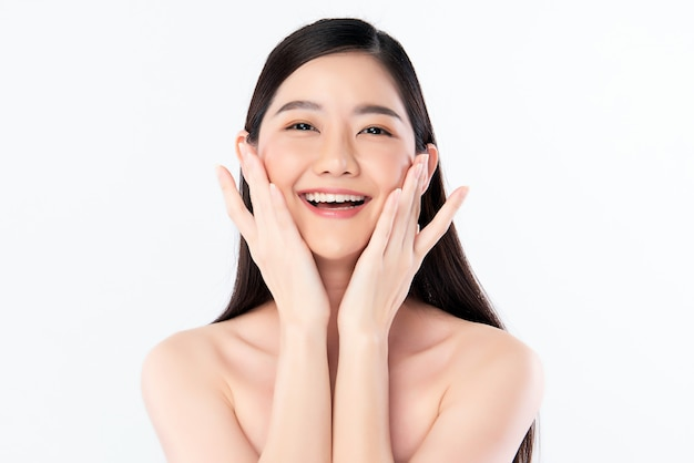 Beautiful young asian woman with clean fresh skin, face care, facial treatment, cosmetology, beauty, asian women portrait,