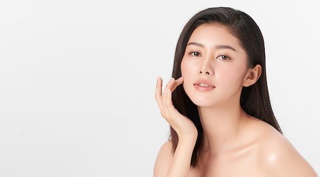 Beautiful young asian woman with clean fresh skin, face care, facial treatment, cosmetology, beauty, asian women portrait.