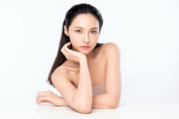 Beautiful young asian woman with clean fresh skin. face care, facial treatment, cosmetology, beauty and healthy skin and cosmetic concept