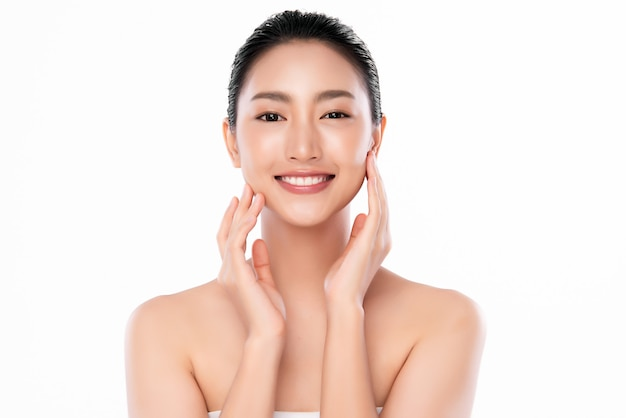 Beautiful young asian woman with clean fresh skin, face care, facial treatment, cosmetology, beauty and spa,