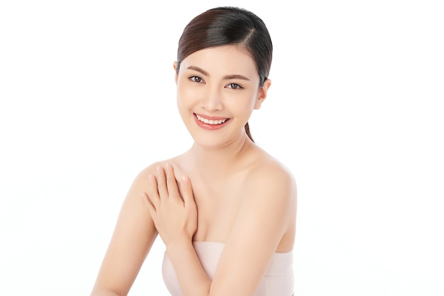 Beautiful young asian woman with clean fresh skin,, face care, facial treatment. cosmetology and beauty