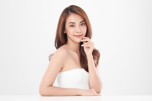 Beautiful young asian woman with clean fresh skin, face care, facial treatment, cosmetology, beauty.