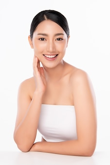Beautiful young asian woman with clean fresh skin. face care, facial treatment, cosmetology