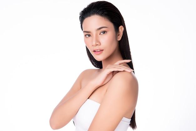 Beautiful young asian woman with clean fresh skin,