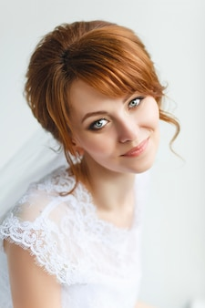Beautiful young bride with wedding makeup
