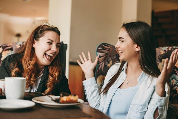 커피 숍에 앉아있는 동안 웃고있는 그녀의 여자 친구에게 손 제스처를 사용하여 뭔가 긴 머리 스토리 텔링을 가진 아름 다운 젊은 갈색 머리.