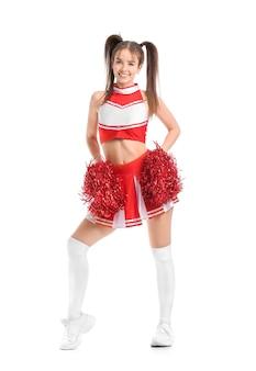 Beautiful young cheerleader isolated