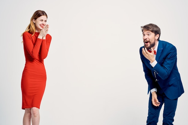 Beautiful young couple communication fashion isolated background