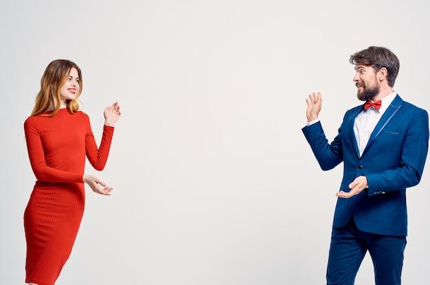 Beautiful young couple communication fashion studio