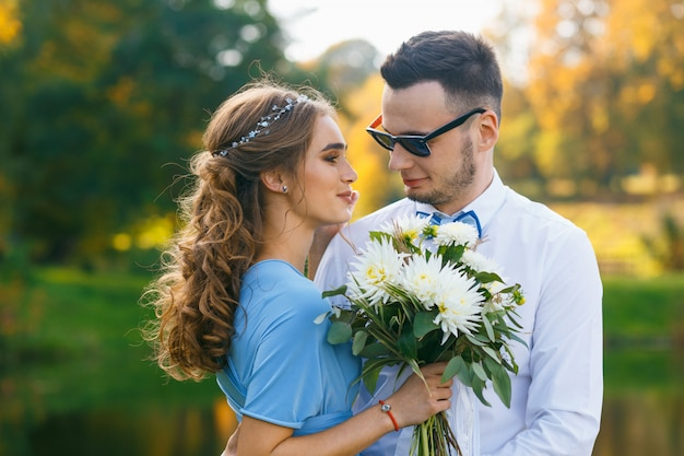 Beautiful young couple on wedding ceremony