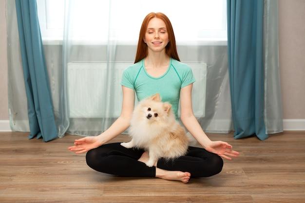 빨간 머리를 가진 아름다운 젊은 여성은 강아지와 함께 집에서 스포츠에 들어갑니다