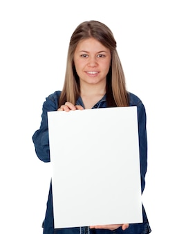 Beautiful young girl holding a blank poster for advertising isolated on white background