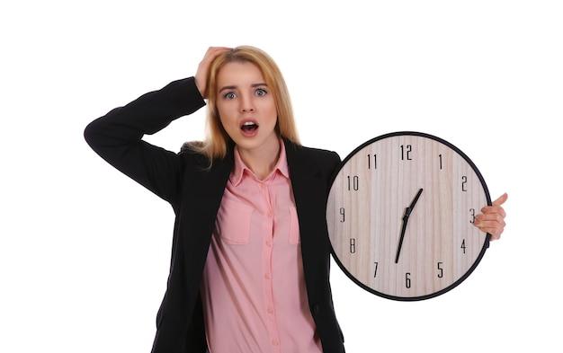 시계, 흰색 절연을 들고 아름 다운 젊은 여자