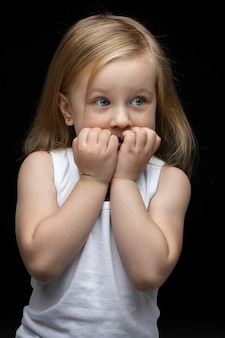 Beautiful young girl is sad afraid of something