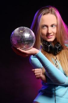 Beautiful young girl listen music