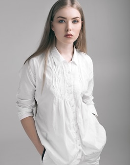 Beautiful young girl woman in white clothing