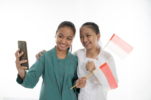 Beautiful young girls on white background