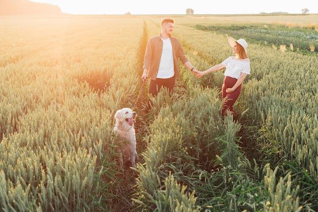 아름 다운 젊은 임신 부부는 그들의 흰색 래브라도와 함께 필드에서 산책. 임산부 . 가족과 임신. 사랑과 부드러움. 행복과 평온. 새로운 삶을 돌보는 것. 가족 가치.