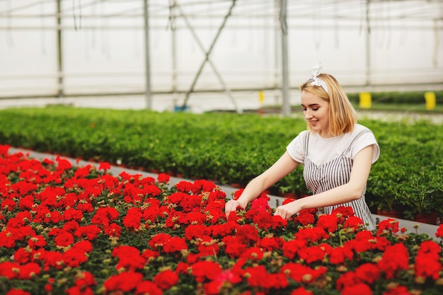 Beautiful young smiling girl, worker with flowers in greenhouse