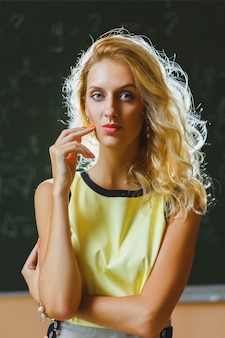 Beautiful young teacher