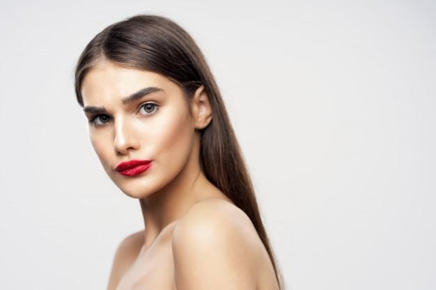Beautiful young woman beauty portrait, face skin care