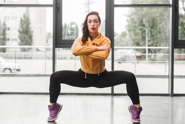 Beautiful young woman break dancing