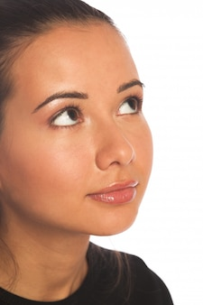 Beautiful young woman face. isolated