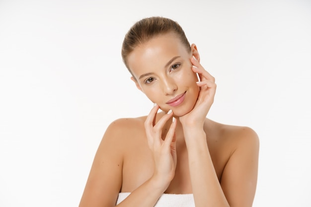 Beautiful young woman face portrait beauty skin care concept