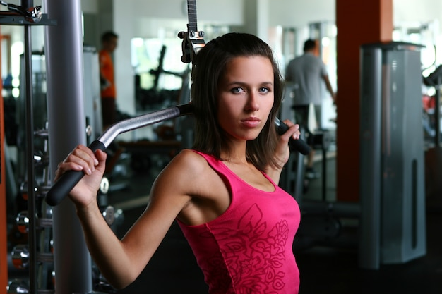 A beautiful young woman on fitness training