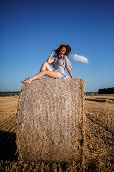 A beautiful young woman in a hat and a summer dress sits on a sheaf of hay in a field. rural nature, wheat field