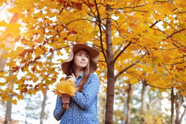 秋の葉の束を保持している美しい若い女性