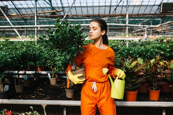 Beautiful young woman holding potted plant and watering can in greenhouse