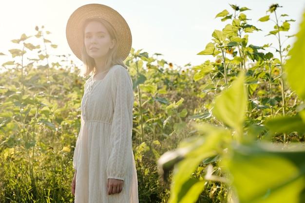 해질녘 해바라기를 배경으로 카메라 앞에 서서 당신을 바라보는 밀짚 모자와 흰색 컨트리 스타일 드레스를 입은 아름다운 젊은 여성