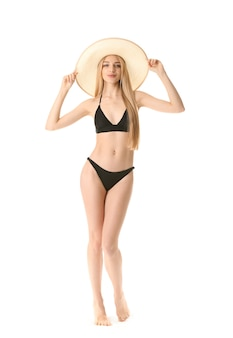 흰색 바탕에 수영복에 아름 다운 젊은 여자