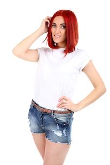 흰색 표면에 고립 된 아름 다운 젊은 여자