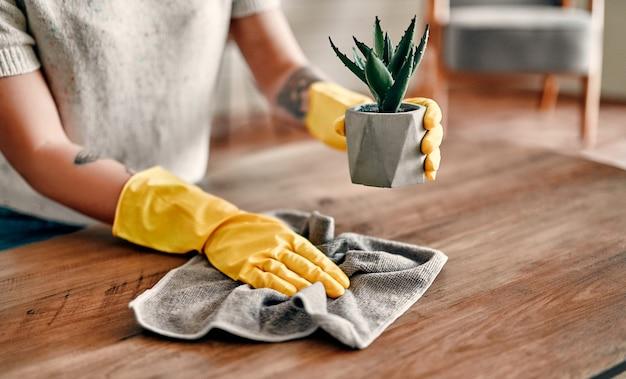 美しい若い女性が家の掃除をします。女の子はほこりをこすります。保護手袋をはめた女性が微笑んで、家の掃除をしている間、ダスターを使ってほこりを拭いています。