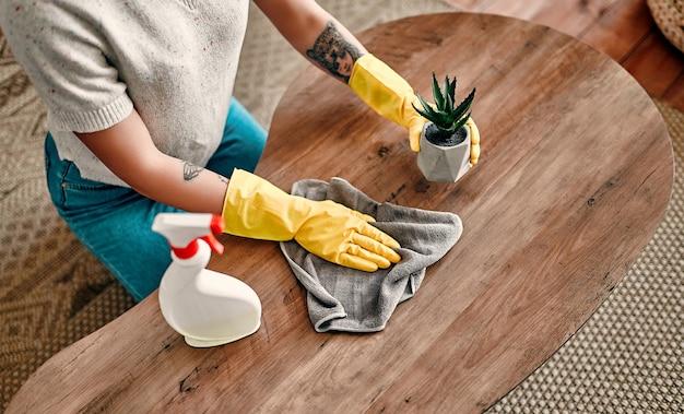 美しい若い女性が家の掃除をします。女の子はほこりをこすります。保護手袋をはめた女性が、家の掃除をしている間、笑顔でスプレーとダスターを使ってほこりを拭いています。