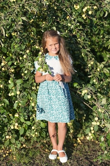 Beautiful young woman picking ripe organic apples in orchard.