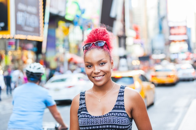 Beautiful young woman portrait in new york