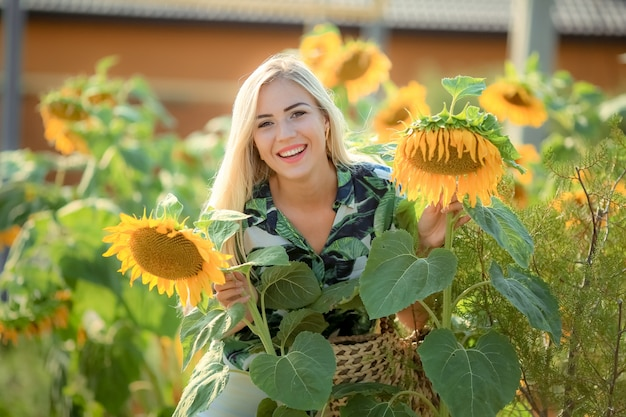 Beautiful young woman posing near sun flowers. summer portrait at the field. happy woman in beauty field with sunflowers. sunflare, sunbeams, glow sun. curly blonde woman