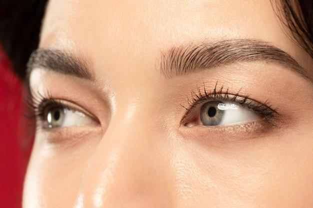 Снимок крупным планом глаза красивой молодой женщины.
