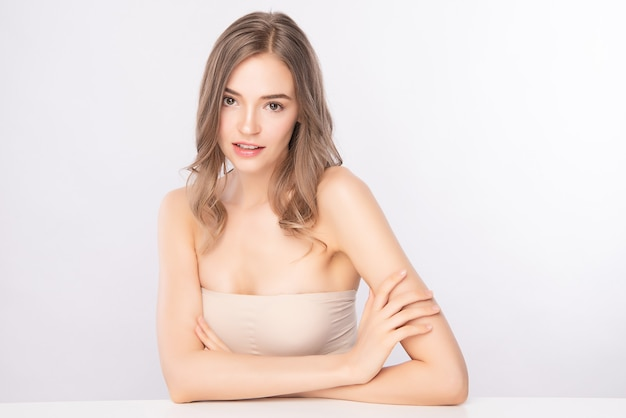 Beautiful young woman with clean fresh skin, face care, facial treatment. cosmetology, beauty. woman portrait.