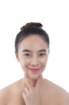 Beautiful young woman with a happy smile facial expressions and gestures by hand, beauty concepts and spa