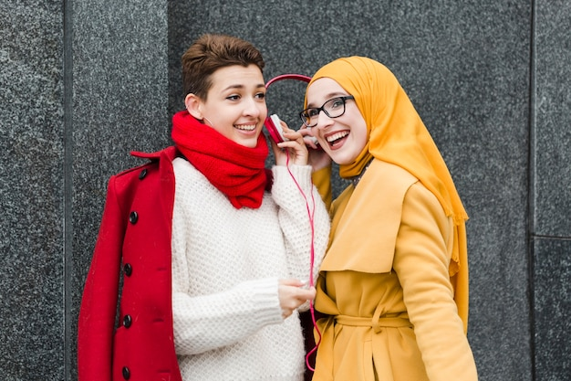 Beautiful young women laughing