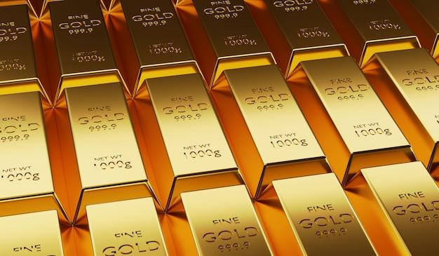 Красиво расположенные золотые слитки, расположенные в изобилии, 3d визуализация