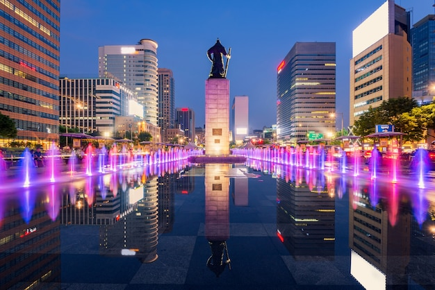 Beautifully color water fountain of seoul city,south korea.