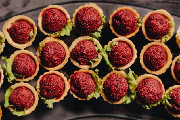 Beautifully decorated catering snacks and appetizers