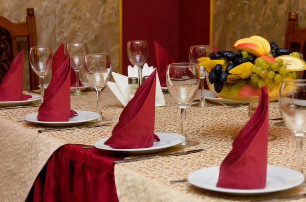 Beautifully decorated table in red colors
